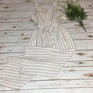 NWT St. Tropez linen striped wide leg jumpsuit - 2
